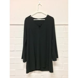 Flowy Black Long Sleeved Dress with Front Cross